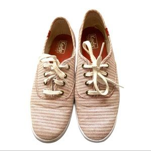 Keds Red and White Striped Sneakers Size 7.5